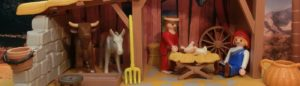 Weihnachtskrippe mit Maria, Josef und Jesus